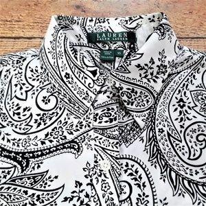 Lauren Ralph Lauren Shirt XS Button Up Black White